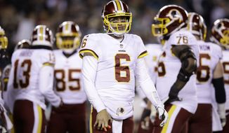 Washington Redskins quarterback Mark Sanchez (6) in action during an NFL football game against the Philadelphia Eagles, Monday, Dec. 3, 2018, Philadelphia. (AP Photo/Matt Rourke) ** FILE **