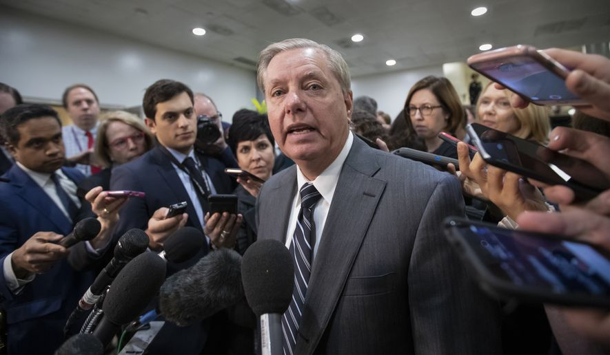 """Sen. Lindsey Graham, R-S.C., chairman of the Subcommittee on Crime and Terrorism, speaks to reporters after a closed-door security briefing by CIA Director Gina Haspel on the slaying of Saudi journalist Jamal Khashoggi and involvement of the Saudi crown prince, Mohammed bin Salman, at the Capitol in Washington, Tuesday, Dec. 4, 2018. Graham said there is """"zero chance"""" the crown prince wasn't involved in Khashoggi's death. (AP Photo/J. Scott Applewhite)"""