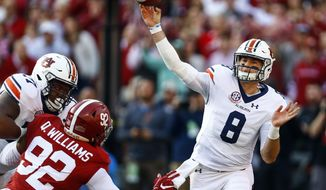 Auburn quarterback Jarrett Stidham (8) throws a pass during the first half of an NCAA college football game against Alabama, Saturday, Nov. 24, 2018, in Tuscaloosa, Ala. (AP Photo/Butch Dill)