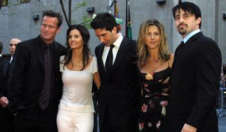 In this May 5, 2002 file photo, the cast members, Matthew Perry, from left, Courteney Cox Arquettte, David Schwimmer, Jennifer Aniston and Matt LeBlanc of the television show 'Friends' arrive at New York's Rockefeller Center for NBC's 75th Anniversary event.  (AP Photo/Tina Fineberg, File) **FILE**