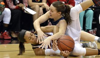 Tennessee-Martin forward Demi Burdick (33), top, battles Louisville guard Asia Durr (25) for a loose ball during the first half of an NCAA college basketball game, in Louisville, Ky., Tuesday, Dec. 4, 2018. (AP Photo/Timothy D. Easley)