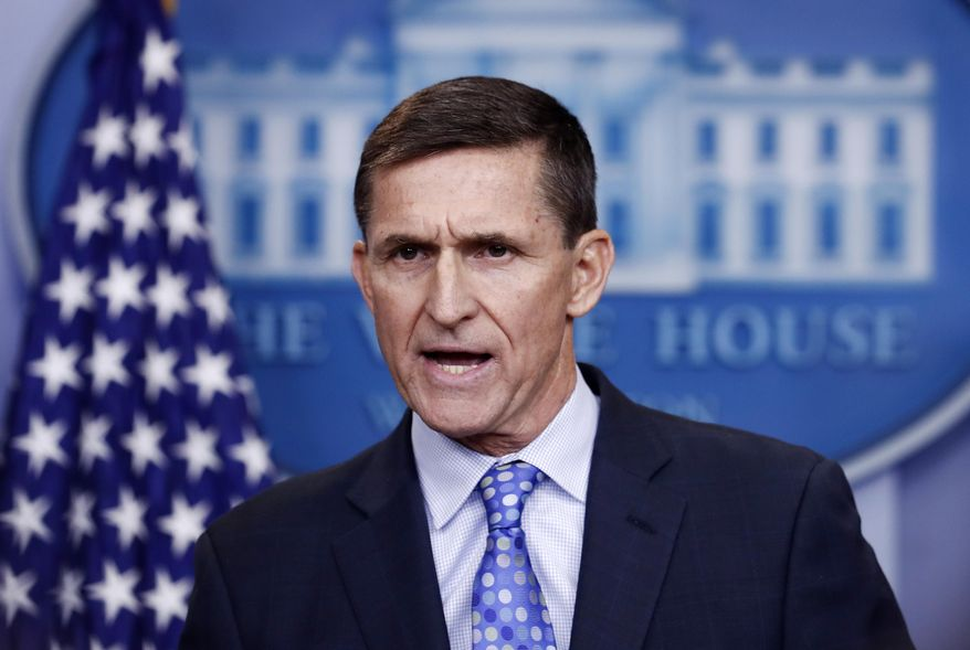 FILE - In this Feb. 1, 2017 file photo, National Security Adviser Michael Flynn speaks during the daily news briefing at the White House in Washington.  The special counsel in the Russia investigation is set to give the first public insight into how much valuable information President Donald Trump's former national security adviser has shared with prosecutors.   (AP Photo/Carolyn Kaster)