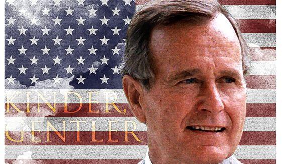 Illustration of George H.W. Bush by Alexander Hunter/The Washington Times