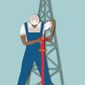 Illustration on Obama's claims to the energy boom by Linas Garsys/The Washington Times