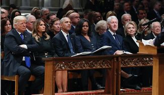 Journalists had many observations to make about four U.S. presidents and their spouses sitting in the same pew at the funeral of George H.W. Bush. The news coverage of the event quickly drifted into drama. (Associated Press)