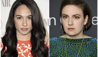 This combination photo shows actress Aurora Perrineau in Los Angeles on Feb. 17, 2015, left, and actress-writer Lena Dunham in New York on May 29, 2018. Dunham is apologizing to Perrineau for defending a writer who Perrineau accused of sexual misconduct. Writing Wednesday in The Hollywood Reporter, Dunham says she did something inexcusable in supporting producer and writer Murray Miller. (AP Photo)