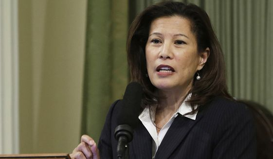 In this March 23, 2015, photo, California Supreme Court Chief Justice Tani Cantil-Sakauye delivers her State of the Judiciary address before a joint session of the Legislature at the Capitol in Sacramento. (Associated Press) **FILE**
