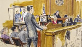 In this courtroom drawing, Assistant U.S. Attorney Douglas Zolkind, standing, addresses cooperating witness Cheikh Gadio, far right, during Hong Kong businessman Dr. Chi Ping Patrick Ho's bribery trial in New York, Wednesday, Nov. 28, 2018. Seated at far left is the defendant, Dr. Chi Ping Patrick Ho. On the bench is Judge Loretta Preska. The photo on the monitor shows the defendant and the President of Chad, Idriss Deby, taken during a meeting. (Elizabeth Williams via AP)