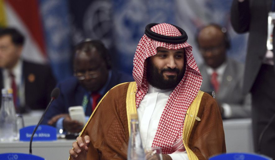In this Dec. 1, 2018, file, photo released by the press office of the G20 Summit Saudi Arabia's Crown Prince Mohammed bin Salman attends a plenary session on the second day of the G20 Leader's Summit in Buenos Aires, Argentina. (G20 Press Office via AP, File) **FILE**