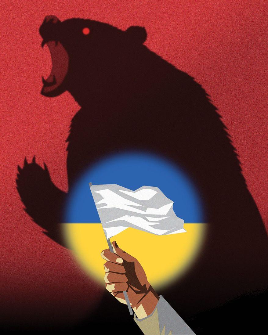Illustration on permanent Ukrainian neutrality by Linas Garsys/The Washington Times