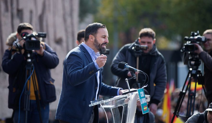 "Santiago Abascal, leader of the Spanish right-wing Vox party, predicted that his movement against ""socialist corruption"" will continue to gain momentum. (Associated Press)"
