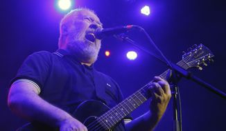 In this May 19, 2018, file photo, Pete Shelley, of the British punk band Buzzcocks, performs at Plaza Condesa in the 6th edition of the Marvin Festival in Mexico City. (AP Photo/Marco Ugarte, File)