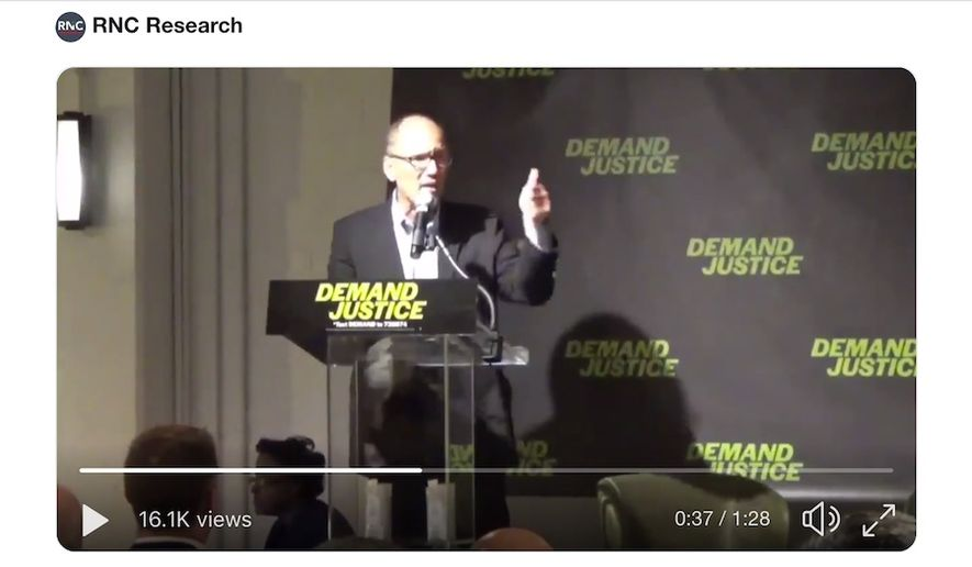Democratic National Committee (DNC) Chairman Tom Perez speaks at the Demand Justice Summit in Washington, D.C., Wednesday, Dec. 5, 2018. (Image: Twitter, Steve Guest, RNC Research)