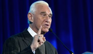 Roger Stone speaks at the American Priority Conference in Washington Thursday Dec. 6, 2018. (AP Photo/Jose Luis Magana)