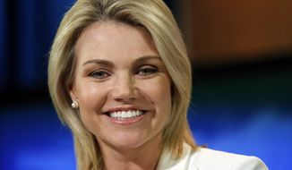 In this Aug. 9, 2017, file photo, State Department spokeswoman Heather Nauert speaks during a briefing at the State Department in Washington. (AP Photo/Alex Brandon, File)