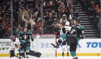 Anaheim Ducks defenseman Brandon Montour celebrates his goal in the first period of an NHL hockey game against the Chicago Blackhawks in Anaheim, Calif., Wednesday, Dec. 5, 2018. (AP Photo/Kyusung Gong)