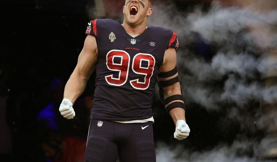 FILE - In this Dec. 2, 2018, file photo, Houston Texans defensive end J.J. Watt (99) screams before an NFL football game against the Cleveland Browns, in Houston. The Texans (9-3) can clinch the AFC South with a win against Indianapolis (6-6) and a loss by the Titans, who play on Thursday night. AP Photo/Eric Christian Smith, File)