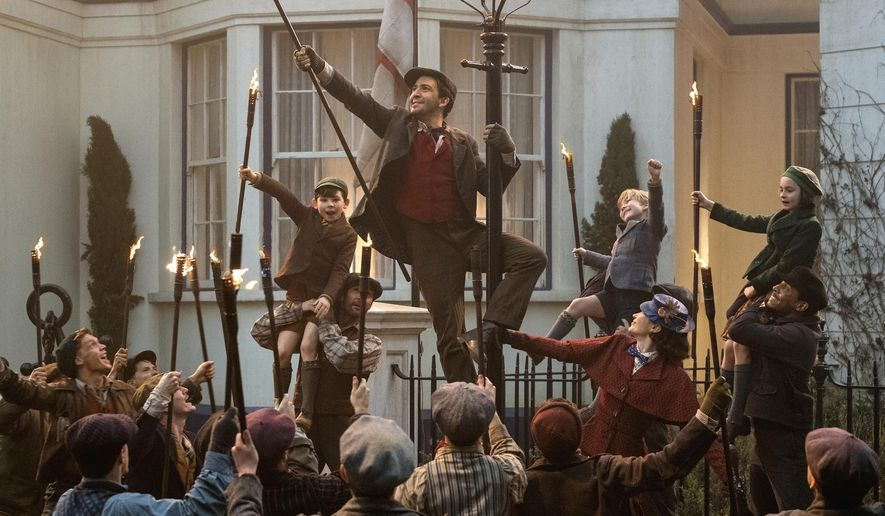 """This image released by Disney shows Lin-Manuel Miranda, center, in """"Mary Poppins Returns.""""  On Thursday, Dec. 6, 2018, Miranda was nominated for a Golden Globe award for lead actor in a motion picture comedy or musical for his role in the film. The 76th Golden Globe Awards will be held on Sunday, Jan. 6.  (Jay Maidment/Disney via AP)"""