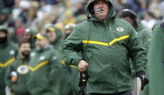 FILE - In this Sunday, Dec. 2, 2018, file photo, Green Bay Packers head coach Mike McCarthy watches a replay on the scoreboard during the first half of an NFL football game against the Arizona Cardinals in Green Bay, Wis. The fired coach was welcomed back to bid farewell to the Packers players on Wednesday, Dec. 5, 2018. (AP Photo/Mike Roemer, File)