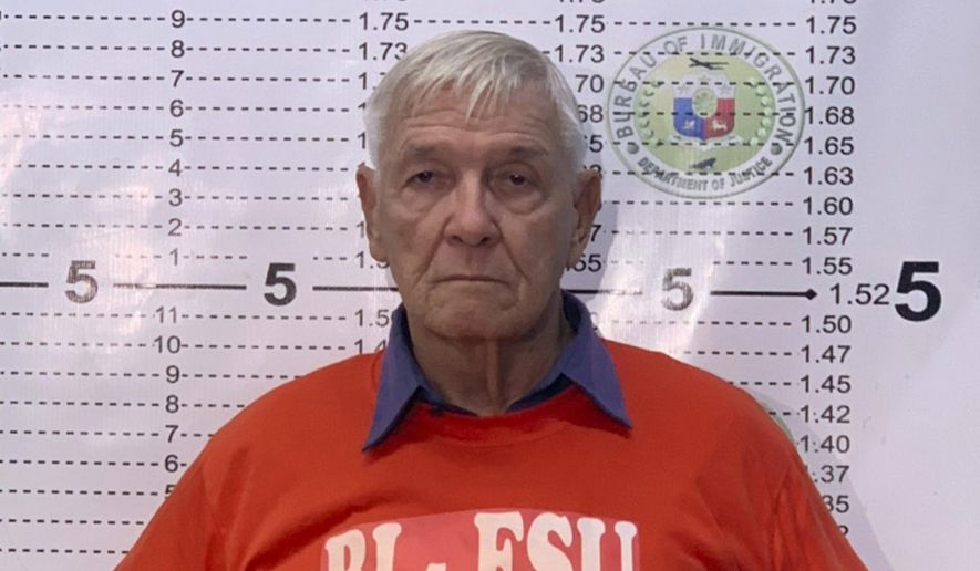 "In this Dec. 5, 2018, photo released by the Bureau of Immigration Public Information Office, an American Roman Catholic priest, the Rev. Kenneth Bernard Hendricks, poses for his mugshot at the Bureau of Immigration in Manila. Philippine immigration authorities say they have arrested Hendricks accused of sexually assaulting altar boys in a church in Naval town in the island province of Biliran, in a case one official described as ""shocking and appalling."" (Bureau of Immigration PIO via AP)"
