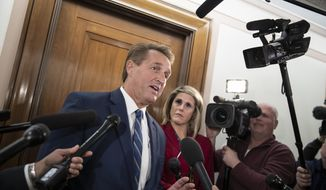 Sen. Jeff Flake, R-Ariz., a member of the Senate Foreign Relations Committee, speaks with reporters as senators are considering multiple pieces of legislation in an effort to formally rebuke Saudi Arabia for the slaying of journalist Jamal Khashoggi, on Capitol Hill in Washington, Thursday, Dec. 6, 2018. (AP Photo/J. Scott Applewhite) **FILE**