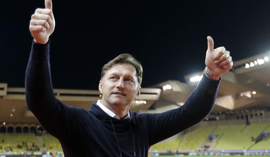 FILE - In this Tuesday Nov. 21, 2017 file photo, Leipzig's head coach Ralph Hasenhuettl gestures to supporters after the Champions League Group G soccer match between Monaco and Leipzig at the Louis II stadium in Monaco. Southampton hired Ralph Hasenhuettl as its fourth permanent manager in 18 months on Wednesday Dec. 5, 2018, tasked with developing the talent to revive the struggling Premier League club after impressing in Germany. (AP Photo/Claude Paris, File)