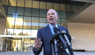 Michael Avenatti, lawyer for porn actress Stormy Daniels, speaks to reporters outside federal court in Los Angeles Monday, Dec. 3, 2018. (AP Photo/Brian Melley)
