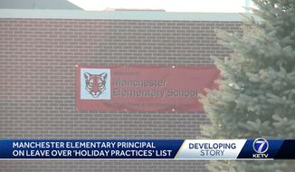 "Manchester Elementary principal Jennifer Sinclair was placed on administrative leave this week after she sent out an unauthorized memo banning a slew of Christmas-related items, including candy canes, which she claimed are shaped like a ""J"" for Jesus Christ. (KETV)"