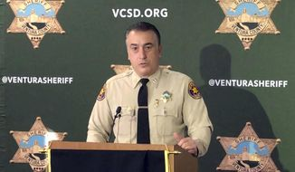 """Ventura County sheriff's Capt. Garo Kuredjian speaks at news conference in Thousand Oaks, Calif., Friday, Dec. 7, 2018, as authorities announce what they call a """"significant development"""" in their investigation of last month's shooting that killed 12 people at a popular Southern California country music bar. (AP Photo/Amanda Lee Myers)"""