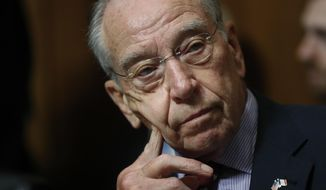 In this Sept. 28, 2018, photo, Senate Judiciary Committee Chairman Chuck Grassley of Iowa chairs a meeting of the committee on Capitol Hill in Washington. (Associated Press) **FILE**
