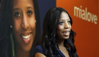 FILE - In this Sept. 17, 2018, file photo, U.S. Rep. Mia Love, R-Utah, speaks during an interview in Murray, Utah. The fierce battle for a U.S. House seat in Utah won narrowly by Democrat Ben McAdams to unseat Love was one of the most expensive races in Utah history, new figures show. (AP Photo/Rick Bowmer, File)