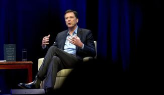 In this April 30, 2018, file photo, former FBI Director James Comey speaks during a stop on his book tour in Washington. House Republicans are preparing to interview Comey behind closed doors Friday, Dec. 7, hauling the former FBI Director to Capitol Hill one final time before they cede power to Democrats in January. (AP Photo/Jose Luis Magana, File)