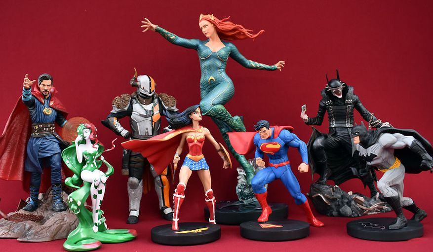Gift ideas include DC Collectibles' Aquaman Movie: Mera, DC Designer Series: Jim Lee Trinity (Wonder Woman, Superman and Batman) and DC Artists Alley: Poison Ivy, Diamond Select Toys' Marvel Movie Gallery: Dr. Strange and DC Comics Gallery: The Batman Who Laughs and McFarlane Toys' Stranger Things: Ghostbusters Deluxe 4-Pack and Lord Shaxx. (Photograph by Joseph Szadkowski / The Washington Times)