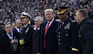 President Donald Trump, center, stands with Defense Secretary Jim Mattis, left of Trump, during the pregame ceremonies at the Army-Navy football game in Philadelphia, Saturday, Dec. 8, 2018. (AP Photo/Susan Walsh)