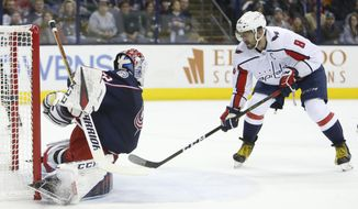 Washington Capitals' Alex Ovechkin, right, of Russia, scores against Columbus Blue Jackets' Sergei Bobrovsky, of Russia, during the first period of an NHL hockey game, Saturday, Dec. 8, 2018, in Columbus, Ohio. (AP Photo/Jay LaPrete)
