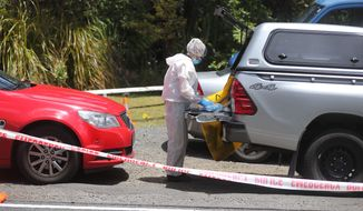 A police officer investigating the murder of British tourist Grace Millane stands at a crime scene along a section of Scenic Drive in the Waitakere Ranges outside Auckland, New Zealand, Sunday, Dec. 9, 2018. New Zealand police said Saturday, Dec. 8, that they believe the 22-year-old British tourist who has been missing for a week was murdered, and they will lay charges against a man they detained earlier in the day for questioning. (Doug Sherring/New Zealand Herald via AP)