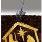 Illustration on the attempts at burying Christmas by Alexander Hunter/The Washington Times