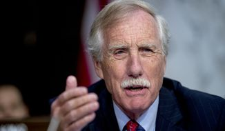 "Sen. Angus King, I-Maine, speaks during a Senate Intelligence Committee hearing on ""Policy Response to Russian Interference in the 2016 U.S. Elections"" on Capitol Hill, Wednesday, June 20, 2018, in Washington. (AP Photo/Andrew Harnik) ** FILE **"