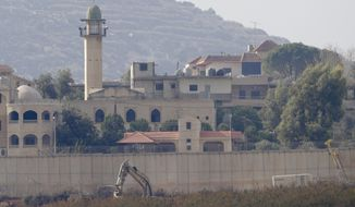 "Israeli military digger works on the border with Lebanon in the northern Israeli town of Metula, Tuesday, Dec. 4, 2018. The Israeli military launched an operation on Tuesday to ""expose and thwart"" tunnels built by the Hezbollah militant group it says stretch from Lebanon into northern Israel. (AP Photo/Ariel Schalit)"