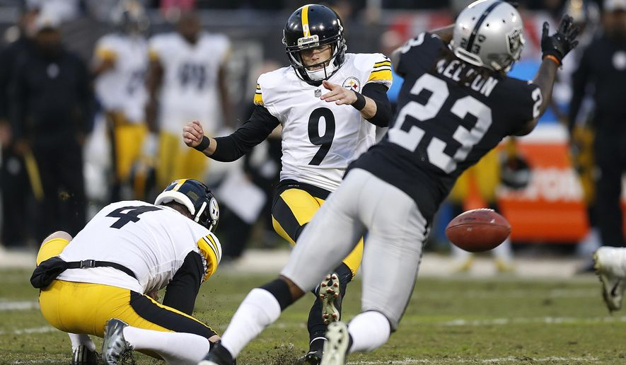 Pittsburgh Steelers kicker Chris Boswell (9) slips on the turf while attempting a field goal against the Oakland Raiders during the second half of an NFL football game in Oakland, Calif., Sunday, Dec. 9, 2018. (AP Photo/D. Ross Cameron)