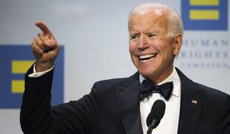 FILE - In this Sept. 15, 2018, file photo, former Vice President Joe Biden addresses the Human Rights Campaign National Dinner in Washington, D.C. Biden is scheduled to be in Vermont on Sunday, Dec. 9, as part of his on-going American Promise Tour. (AP Photo/Cliff Owen, File)