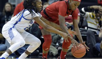 Louisville guard Dana Evans, right, and Kentucky guard Taylor Murray, left, go after the ball during the first half of an NCAA college basketball game in Louisville, Ky., Sunday, Dec. 9, 2018. (AP Photo/Timothy D. Easley)