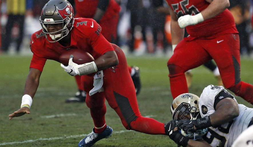Tampa Bay Buccaneers quarterback Jameis Winston (3) gets sacked by New Orleans Saints defensive tackle Sheldon Rankins (98) during the second half of an NFL football game Sunday, Dec. 9, 2018, in Tampa, Fla. (AP Photo/Mark LoMoglio)