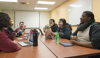 The University's CFANS chapter of Minorities in Agriculture, Natural Resources and Related Sciences holds a meeting in Appleby Hall on Tuesday, Nov. 27, 2018. University of Minnesota students and faculty are working to shift the paradigm of diversity in agricultural studies. (Tony Saunders/The Minnesota Daily via AP)