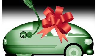 Illustration on electric car subsidies by Alexander Hunter/The Washington Times