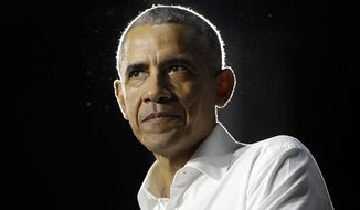 Former President Barack Obama speaks during a campaign rally for Democratic candidates Friday, Nov. 2, 2018, in Miami. (AP Photo/Lynne Sladky)