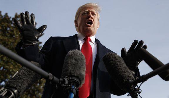 President Donald Trump talks to media before boarding Marine One on the South Lawn of the White House in Washington, Saturday, Dec. 8, 2018, for the short trip to Andrews Air Force Base en route to Philadelphia to attend the Army-Navy Football Game. (AP Photo/Carolyn Kaster)