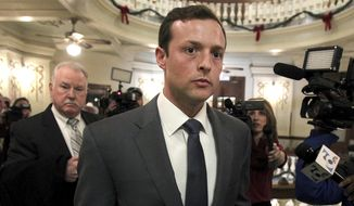 Former Baylor University fraternity president Jacob Anderson walks out of the courtroom Monday Dec. 10, 2018. Mr. Anderson, accused of rape, will serve no jail time after a Waco district judge accepted a plea bargain for deferred probation. (Jerry Larson/Waco Tribune Herald via AP)