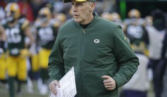 Green Bay Packers head coach Joe Philbin takes the field before an NFL football game against the Atlanta Falcons Sunday, Dec. 9, 2018, in Green Bay, Wis. (AP Photo/Mike Roemer)