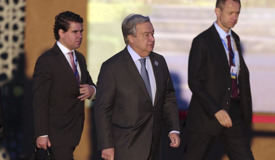 U.N. Secretary-General Antonio Guterres arrives to attend a UN Migration Conference in Marrakech, Morocco, Monday, Dec.10, 2018. Top U.N. officials and government leaders from about 150 countries are uniting around an agreement on migration, while finding themselves on the defensive about the non-binding deal amid criticism and a walkout from the United States and some other countries. (AP Photo/Mosa'ab Elshamy)